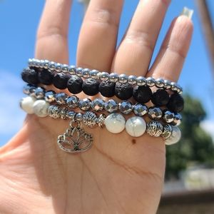 Jewelry - LOTUS CHARM STACK BRACELET SET